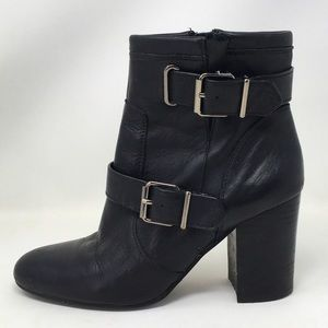 Vince Camuto Booties Ankle Heels Black Leather 9